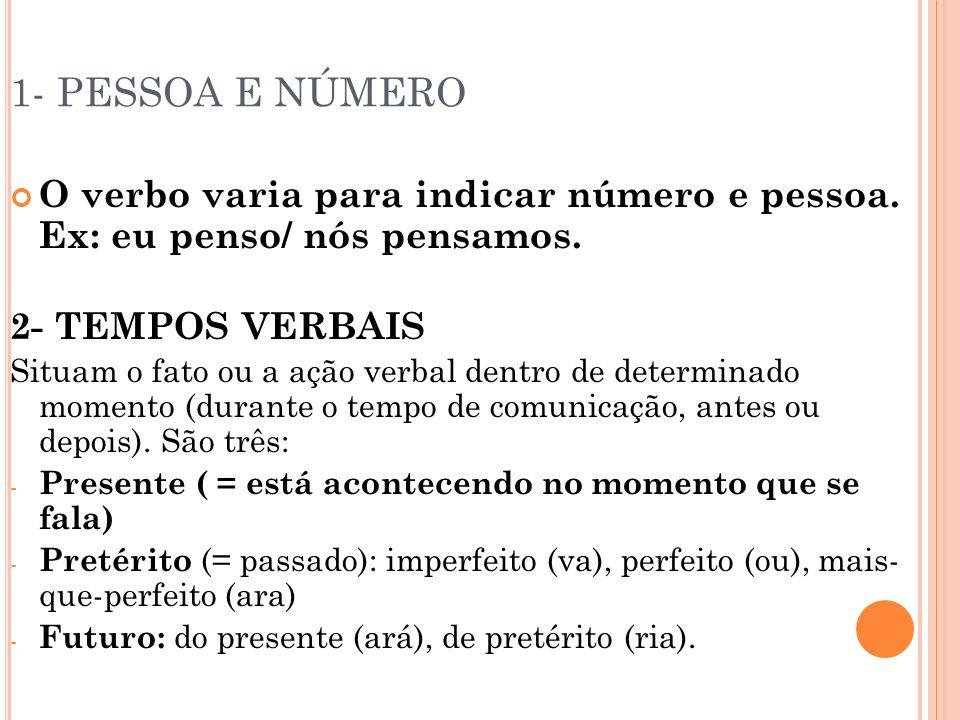 1- PESSOA E NÚMERO O verbo varia para indicar número e pessoa. Ex: eu penso/ nós pensamos. 2- TEMPOS VERBAIS.