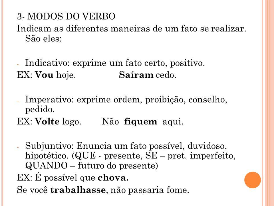 3- MODOS DO VERBO Indicam as diferentes maneiras de um fato se realizar. São eles: Indicativo: exprime um fato certo, positivo.