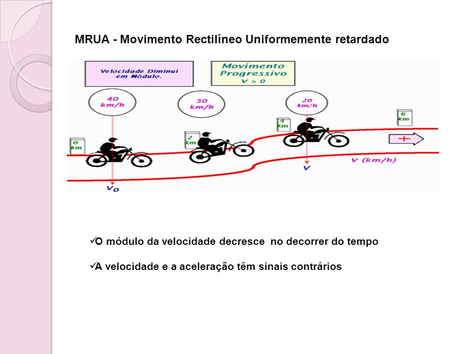 MRUA - Movimento Rectilíneo Uniformemente retardado