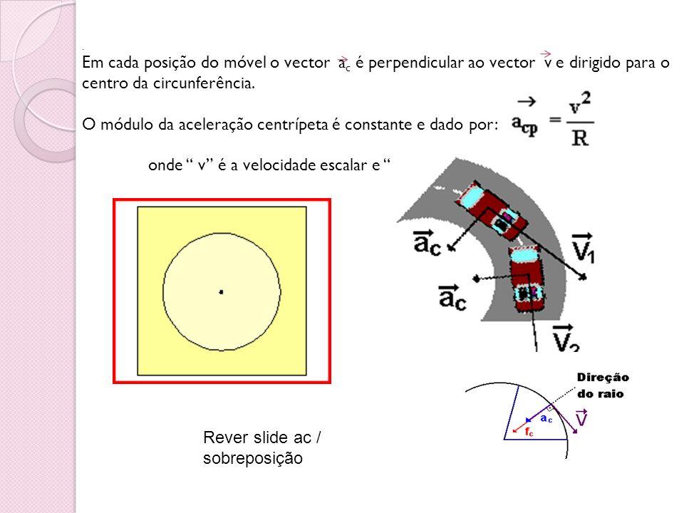 O módulo da aceleração centrípeta é constante e dado por: