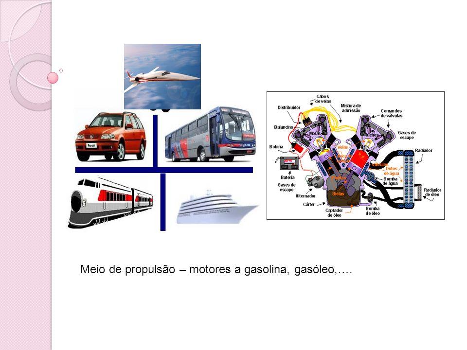 Meio de propulsão – motores a gasolina, gasóleo,….