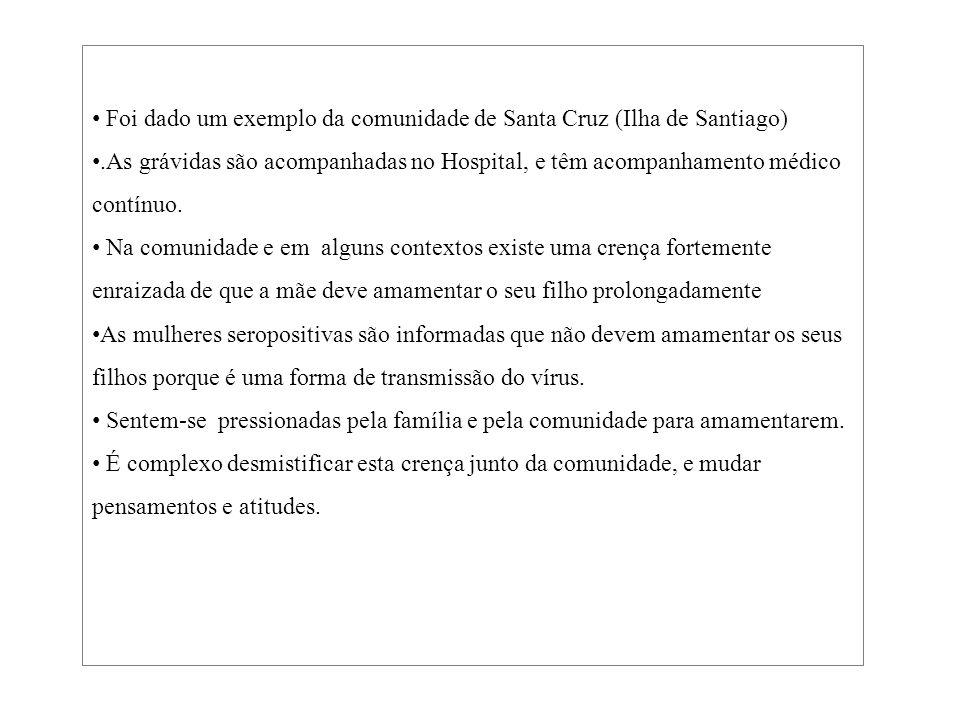 Foi dado um exemplo da comunidade de Santa Cruz (Ilha de Santiago)