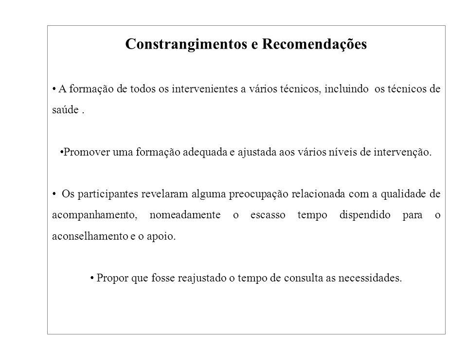 Constrangimentos e Recomendações