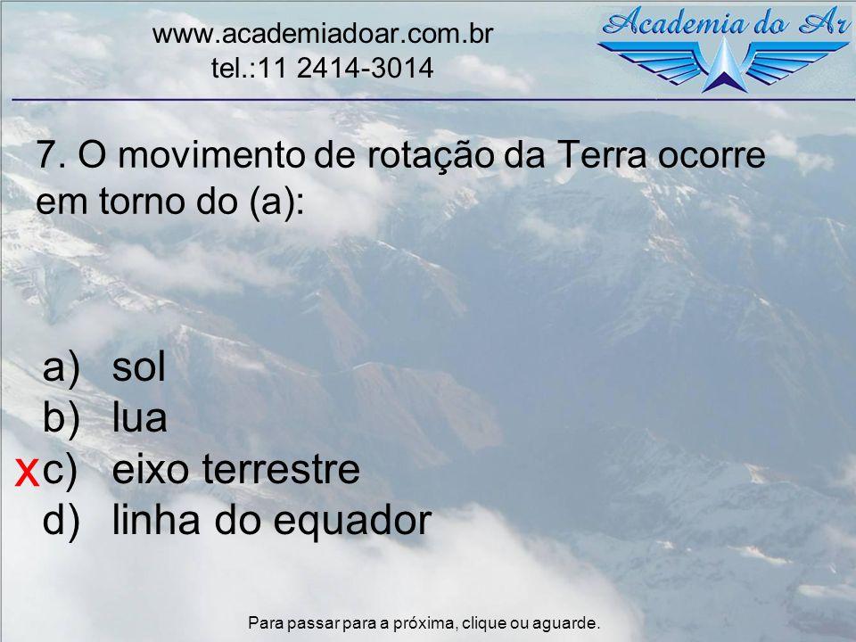 7. O movimento de rotação da Terra ocorre em torno do (a):