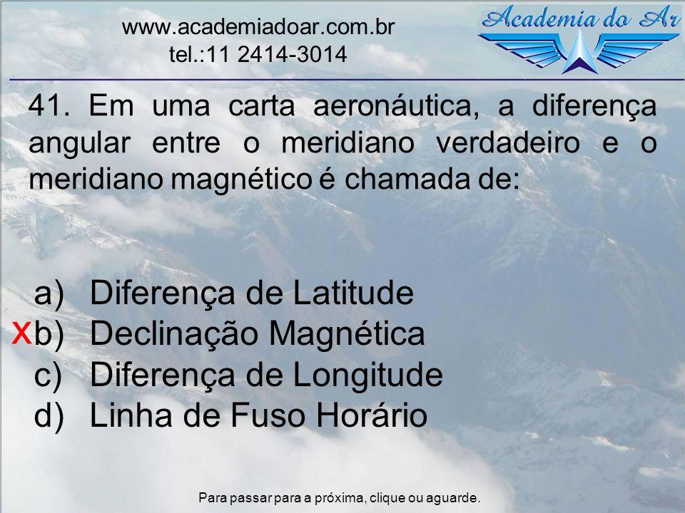 x Diferença de Latitude Declinação Magnética Diferença de Longitude