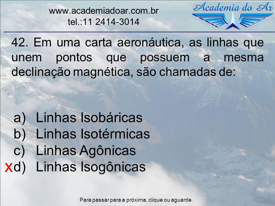 x Linhas Isobáricas Linhas Isotérmicas Linhas Agônicas