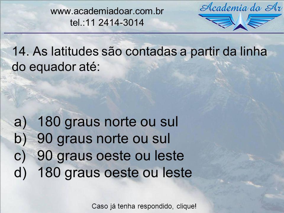 14. As latitudes são contadas a partir da linha do equador até: