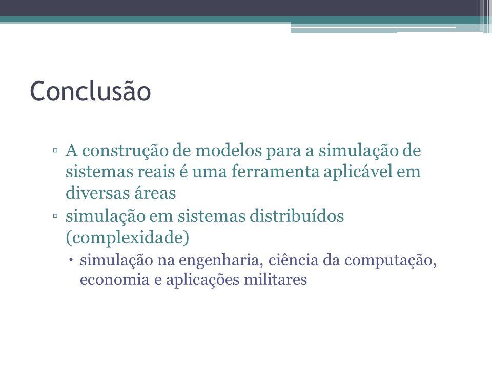 Conclusão A construção de modelos para a simulação de sistemas reais é uma ferramenta aplicável em diversas áreas.