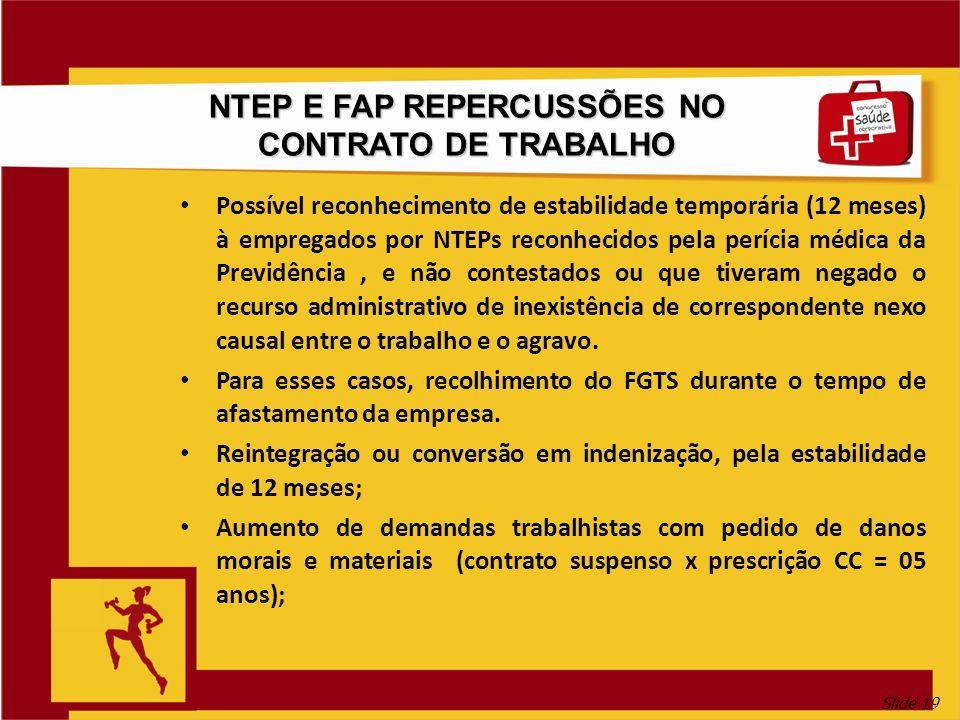 NTEP E FAP REPERCUSSÕES NO CONTRATO DE TRABALHO