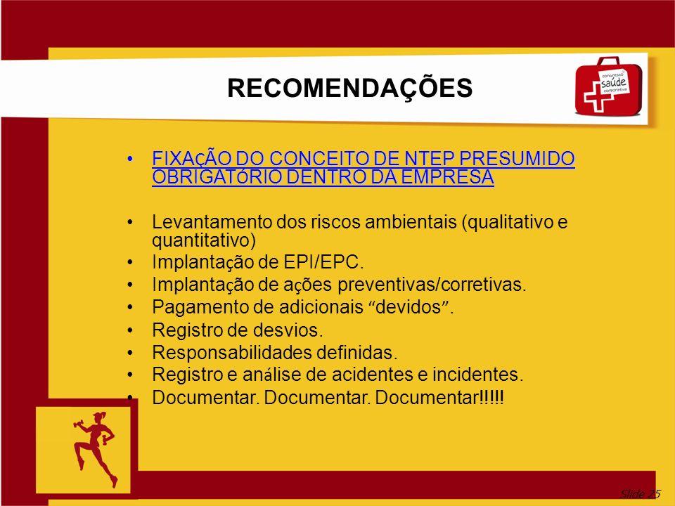 RECOMENDAÇÕES FIXAÇÃO DO CONCEITO DE NTEP PRESUMIDO OBRIGATÓRIO DENTRO DA EMPRESA. Levantamento dos riscos ambientais (qualitativo e quantitativo)