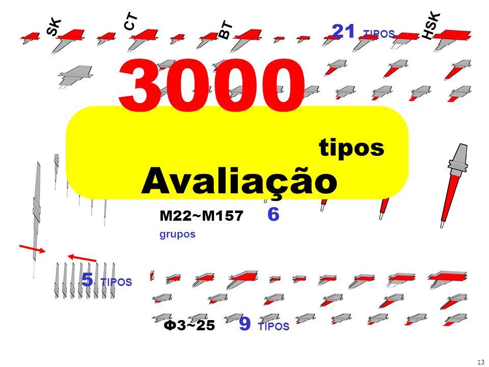 3000 Avaliação tipos 21 TIPOS 5 TIPOS M22~M157 6 grupos Φ3~25 9 TIPOS