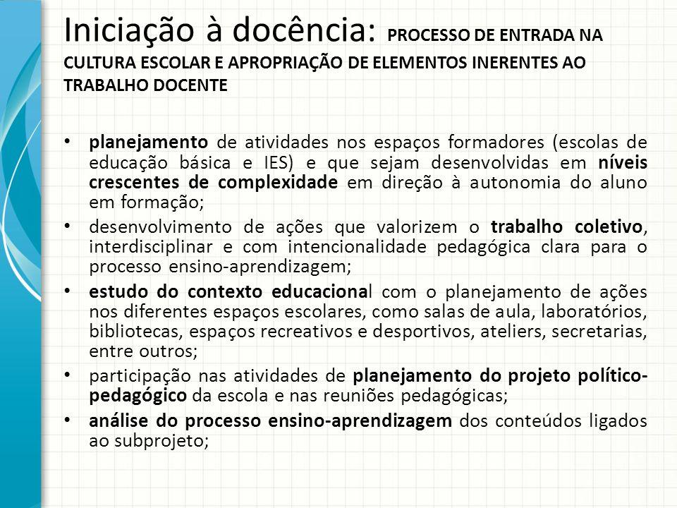 Iniciação à docência: PROCESSO DE ENTRADA NA CULTURA ESCOLAR E APROPRIAÇÃO DE ELEMENTOS INERENTES AO TRABALHO DOCENTE