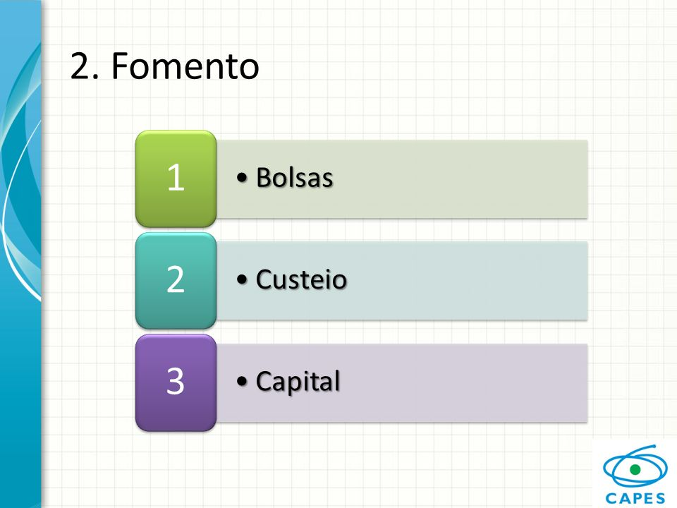 2. Fomento 1 2 3 Bolsas Custeio Capital