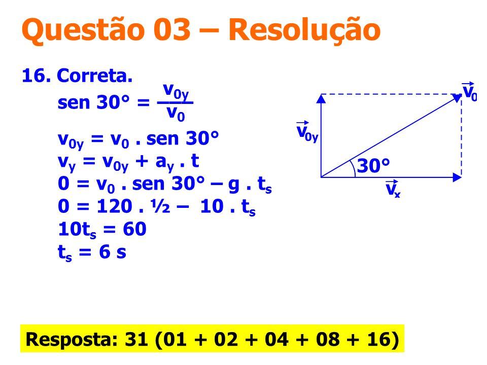Questão 03 – Resolução 16. Correta. v0y v0 sen 30° = ––– .