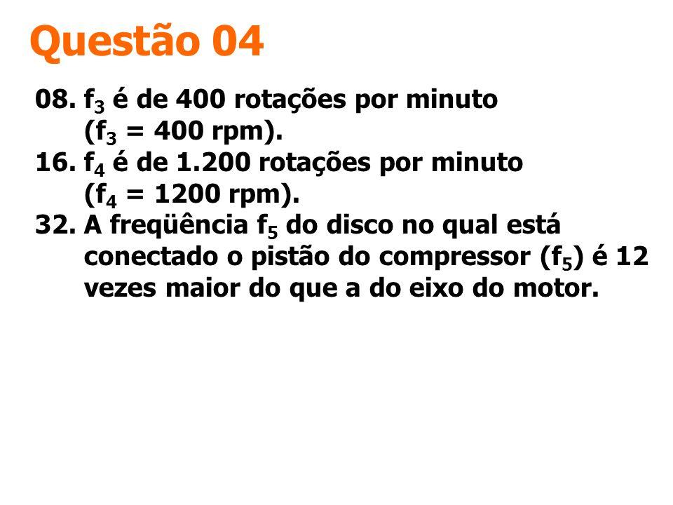 Questão 04 08. f3 é de 400 rotações por minuto (f3 = 400 rpm).