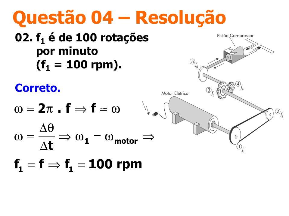 Questão 04 – Resolução 02. f1 é de 100 rotações por minuto (f1 = 100 rpm). Correto.