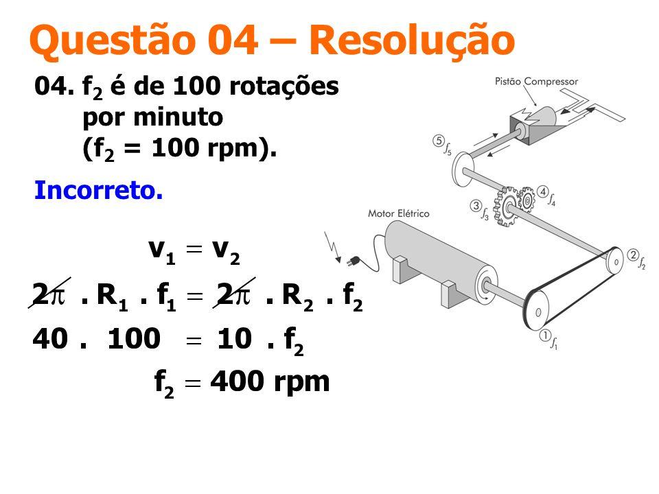 Questão 04 – Resolução 04. f2 é de 100 rotações por minuto (f2 = 100 rpm). Incorreto.