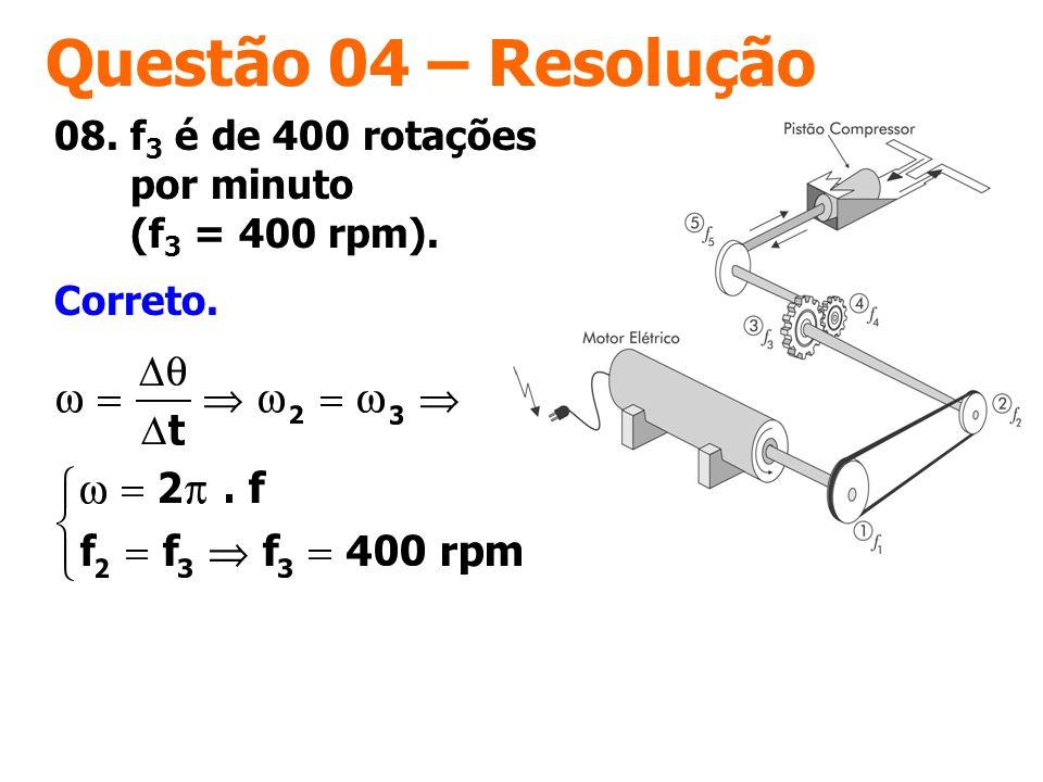 Questão 04 – Resolução 08. f3 é de 400 rotações por minuto (f3 = 400 rpm). Correto.