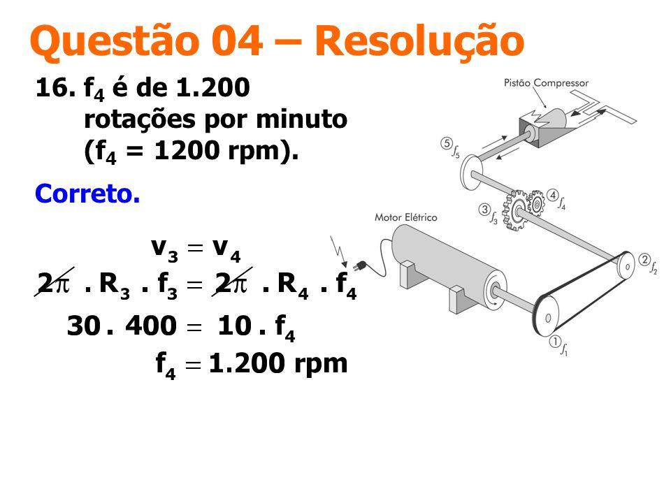 Questão 04 – Resolução 16. f4 é de 1.200 rotações por minuto (f4 = 1200 rpm). Correto.