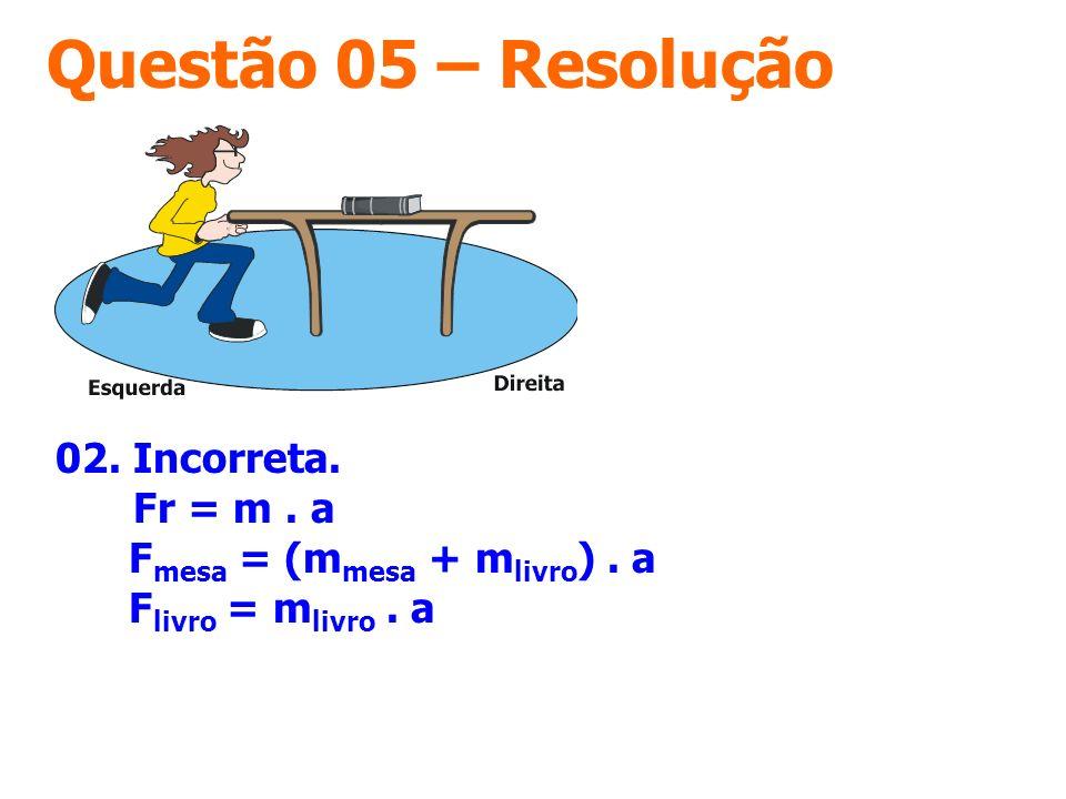 Questão 05 – Resolução 02. Incorreta. Fr = m . a