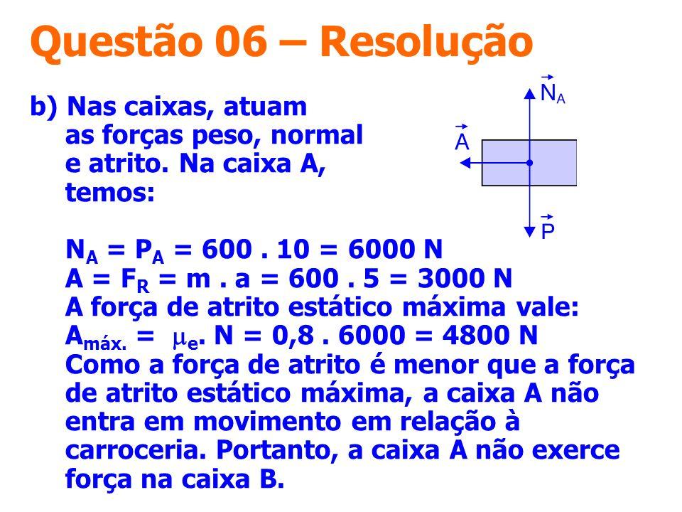 Questão 06 – Resolução b) Nas caixas, atuam as forças peso, normal e atrito. Na caixa A, temos: