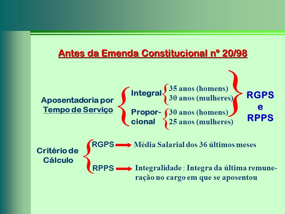 } { { { { Antes da Emenda Constitucional nº 20/98 RGPS e RPPS