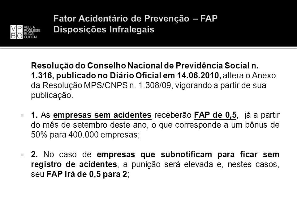 Fator Acidentário de Prevenção – FAP Disposições Infralegais