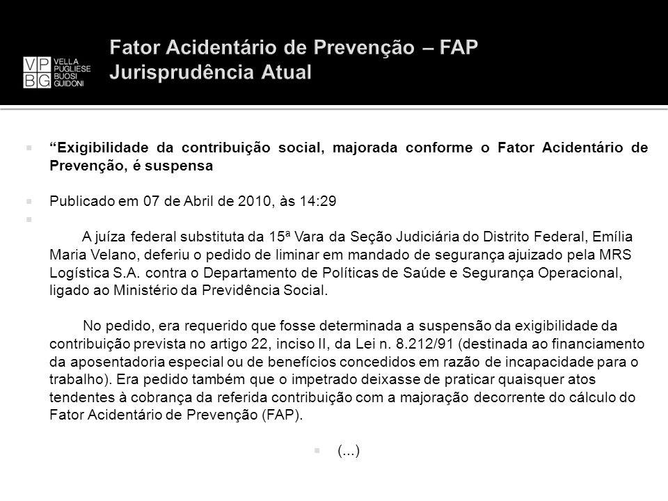 Fator Acidentário de Prevenção – FAP Jurisprudência Atual