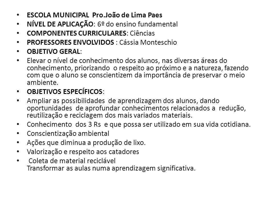 ESCOLA MUNICIPAL Pro.João de Lima Paes
