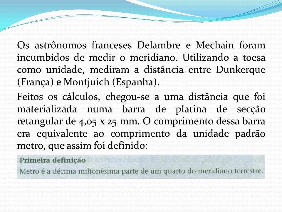 Os astrônomos franceses Delambre e Mechain foram incumbidos de medir o meridiano. Utilizando a toesa como unidade, mediram a distância entre Dunkerque (França) e Montjuich (Espanha).