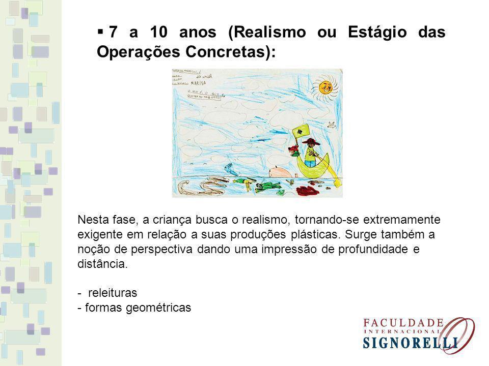 7 a 10 anos (Realismo ou Estágio das Operações Concretas):