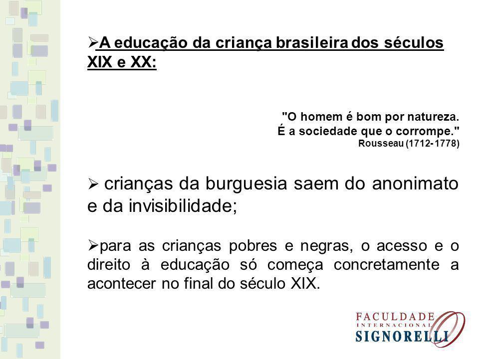 A educação da criança brasileira dos séculos XIX e XX: