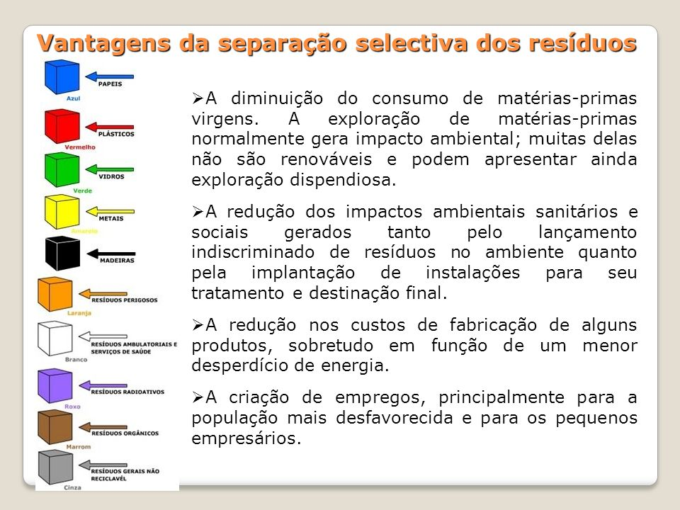 Vantagens da separação selectiva dos resíduos