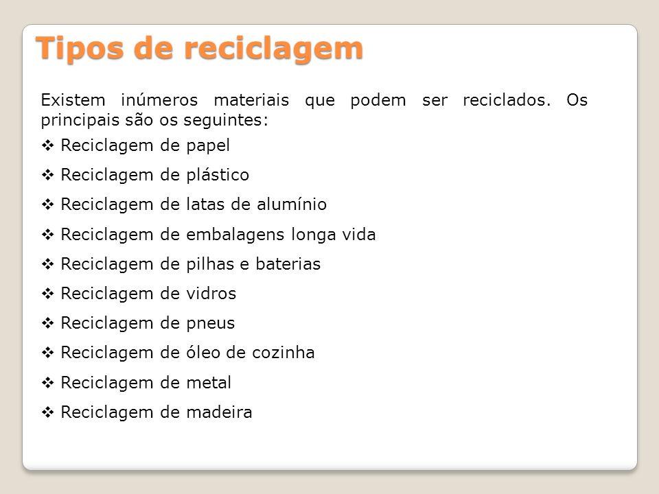 Tipos de reciclagem Existem inúmeros materiais que podem ser reciclados. Os principais são os seguintes: