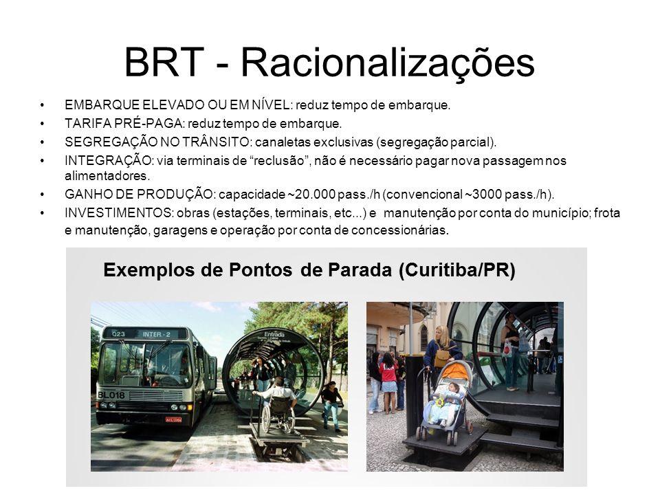 BRT - Racionalizações EMBARQUE ELEVADO OU EM NÍVEL: reduz tempo de embarque. TARIFA PRÉ-PAGA: reduz tempo de embarque.