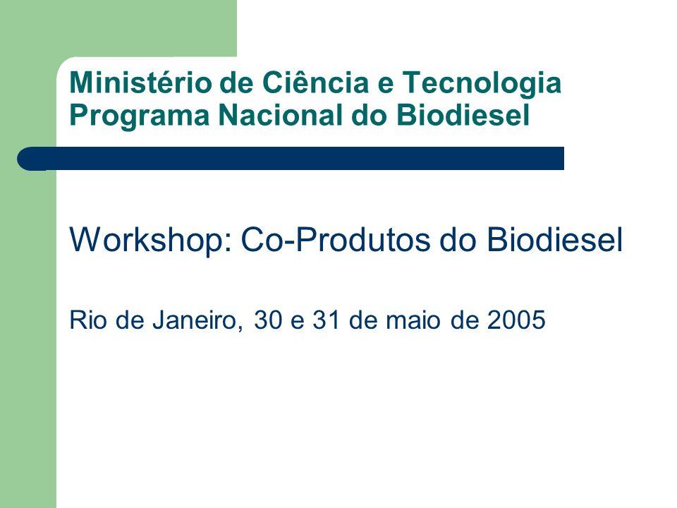 Ministério de Ciência e Tecnologia Programa Nacional do Biodiesel