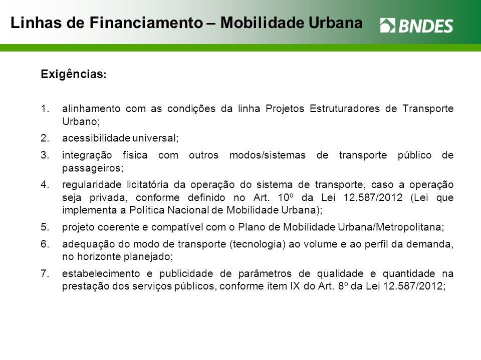 Linhas de Financiamento – Mobilidade Urbana