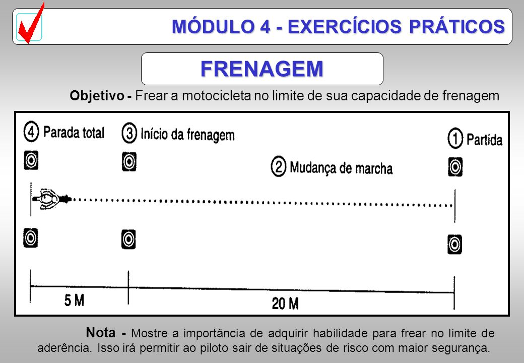 FRENAGEM MÓDULO 4 - EXERCÍCIOS PRÁTICOS