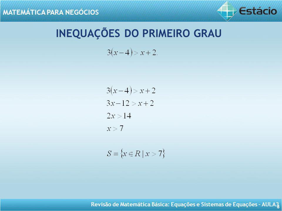 INEQUAÇÕES DO PRIMEIRO GRAU