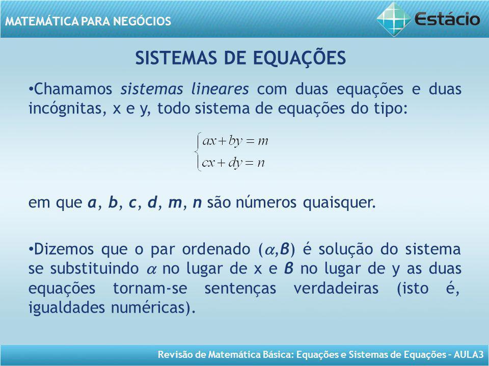 SISTEMAS DE EQUAÇÕES Chamamos sistemas lineares com duas equações e duas incógnitas, x e y, todo sistema de equações do tipo: