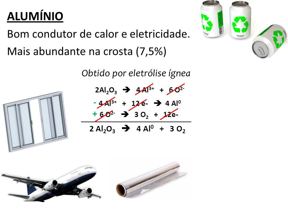ALUMÍNIO Bom condutor de calor e eletricidade.