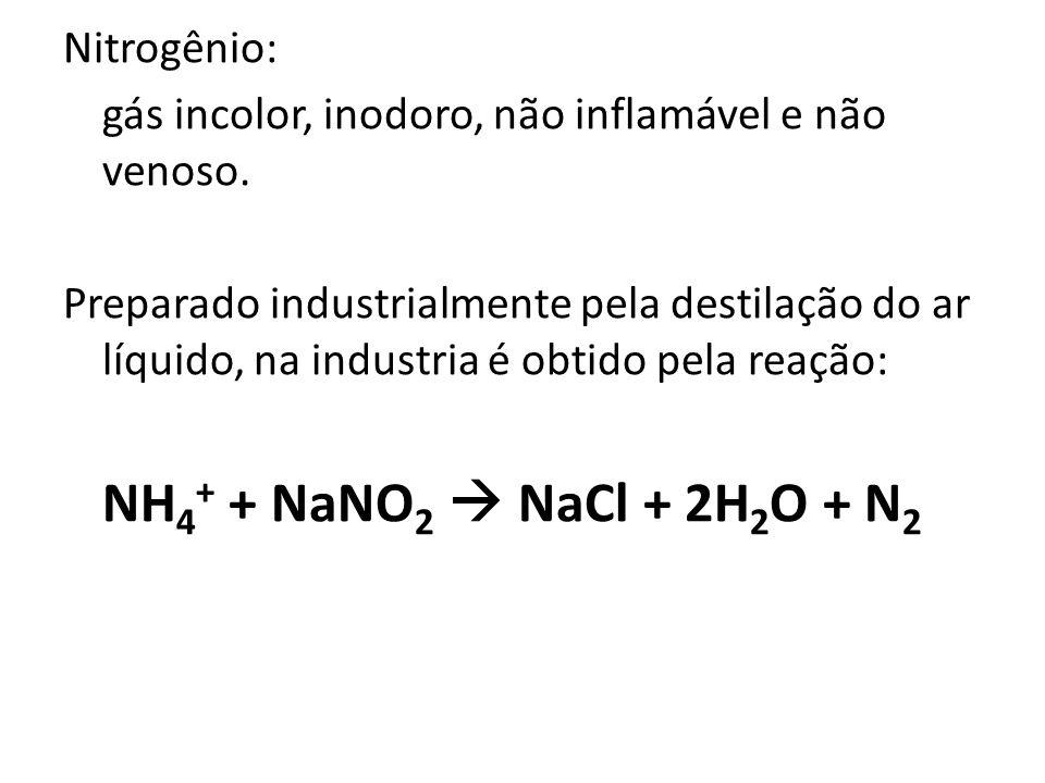 Nitrogênio: gás incolor, inodoro, não inflamável e não venoso