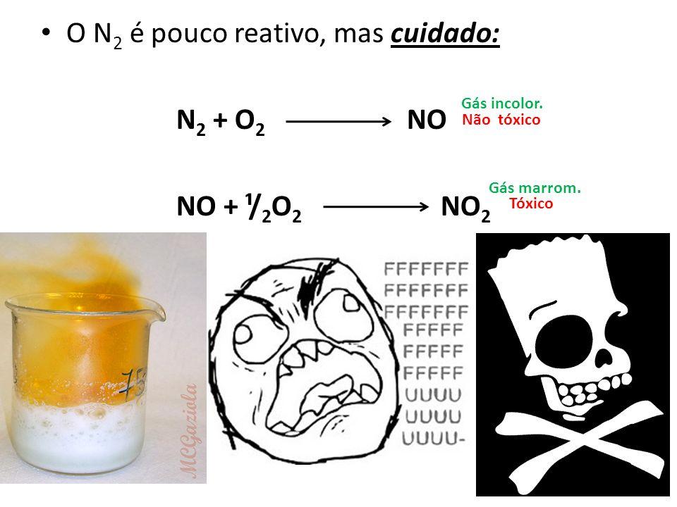 O N2 é pouco reativo, mas cuidado: N2 + O2 NO NO + ¹/2O2 NO2