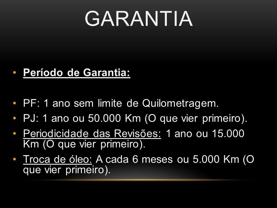GARANTIA Período de Garantia: PF: 1 ano sem limite de Quilometragem.