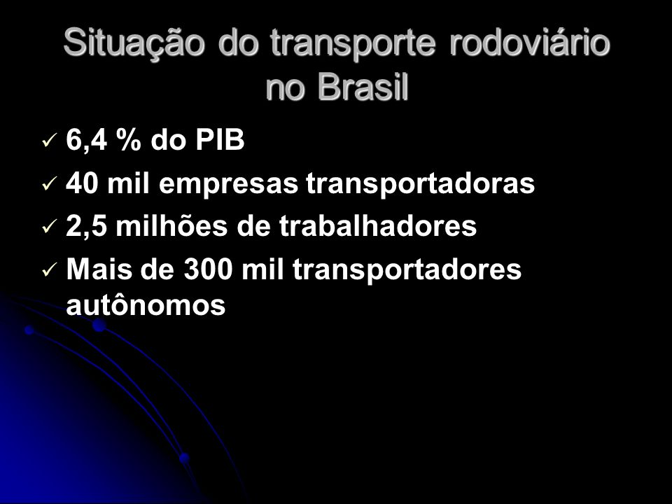 Situação do transporte rodoviário no Brasil
