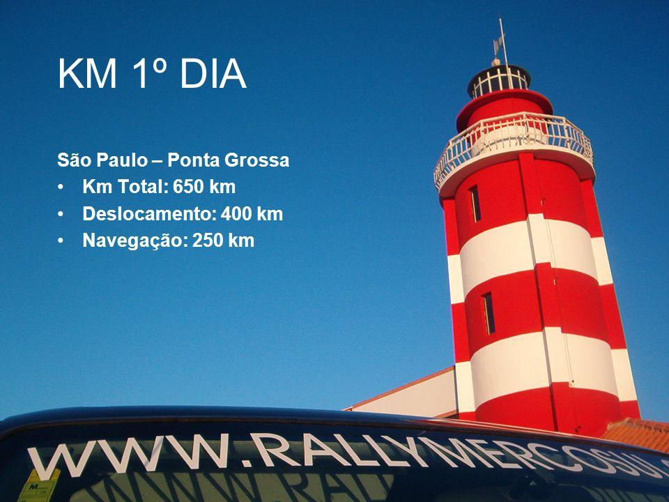 KM 1º DIA São Paulo – Ponta Grossa Km Total: 650 km