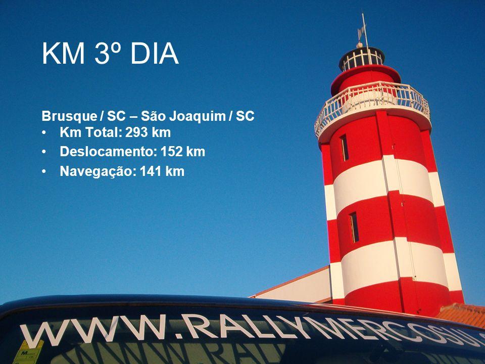 KM 3º DIA Brusque / SC – São Joaquim / SC Km Total: 293 km
