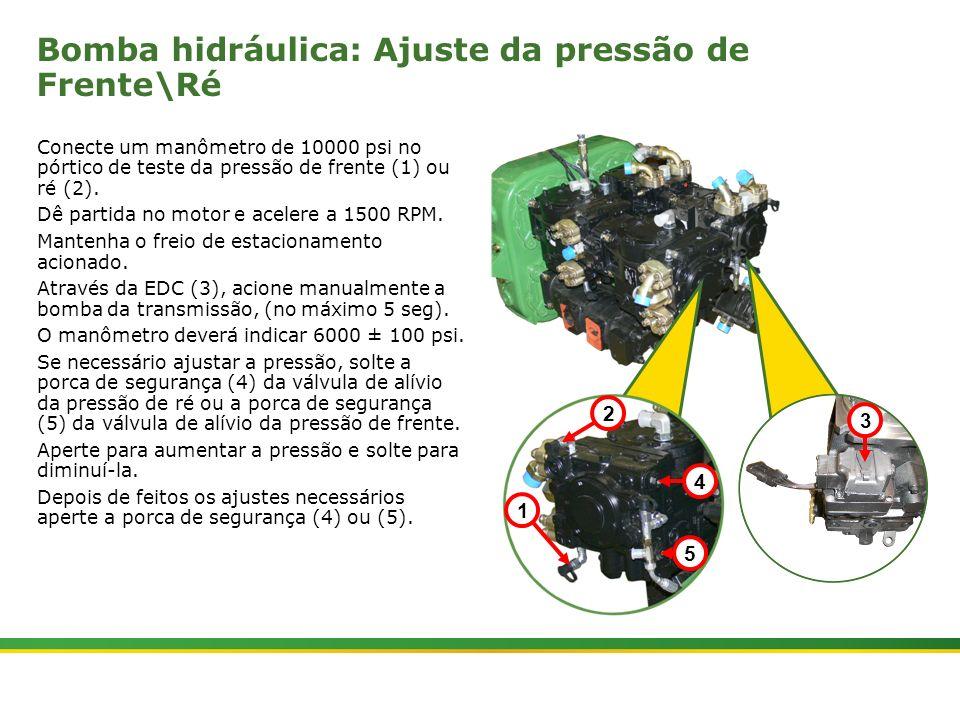 Bomba hidráulica: Ajuste da pressão de Frente\Ré
