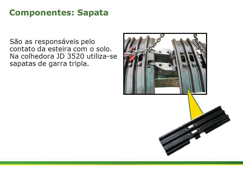 Componentes: Sapata São as responsáveis pelo contato da esteira com o solo. Na colhedora JD 3520 utiliza-se sapatas de garra tripla.