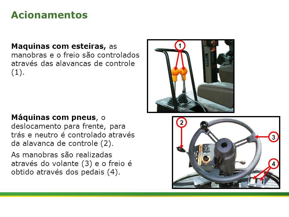 Acionamentos Maquinas com esteiras, as manobras e o freio são controlados através das alavancas de controle (1).